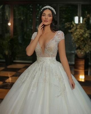 Robes de mariée de luxe Une ligne   Robes de mariée à paillettes_4