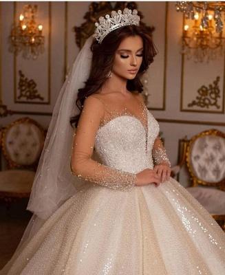 Robes de mariée princesse paillettes | Robes de mariée à manches_4