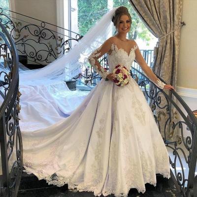 Belles robes de mariée à manches | Robes de mariée Une ligne en dentelle_2