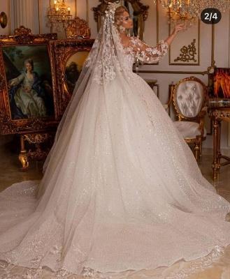 Robes de mariée de luxe avec manches | Robes de mariée princesse paillettes_2