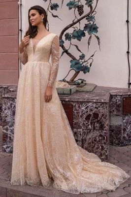 Robes de mariée champagne avec manches | Robes de mariée paillettes_1