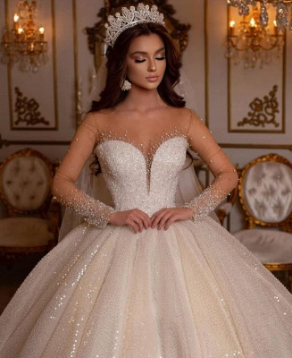 Robes de mariée princesse paillettes | Robes de mariée à manches_5
