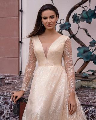 Robes de mariée champagne avec manches | Robes de mariée paillettes_2