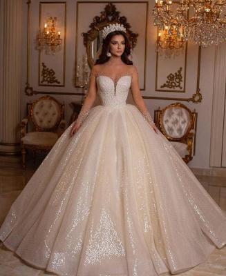 Robes de mariée princesse paillettes | Robes de mariée à manches_2