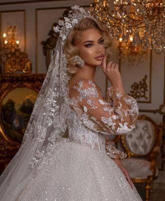 Robes de mariée de luxe avec manches | Robes de mariée princesse paillettes_4