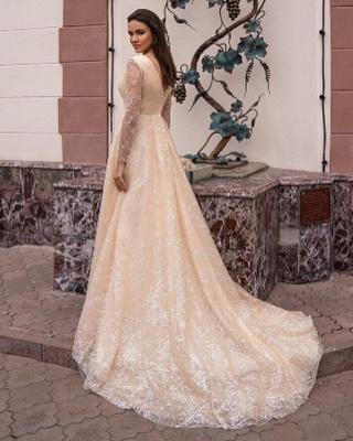 Robes de mariée champagne avec manches | Robes de mariée paillettes_3