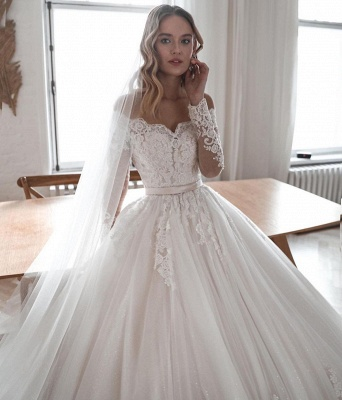 Robes de mariée de créateur avec manches | Robes de mariée Une ligne en dentelle_3