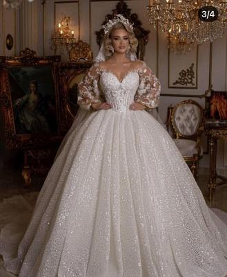 Robes de mariée de luxe avec manches | Robes de mariée princesse paillettes_5