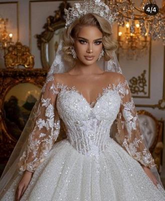 Robes de mariée de luxe avec manches | Robes de mariée princesse paillettes_3
