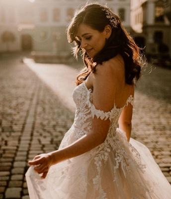Robes de mariée simples en dentelle | Acheter des robes de mariée bohème en ligne_3