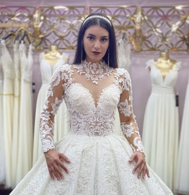 Robes de mariée élégantes A Line Lace   Robes de mariée à manches_3
