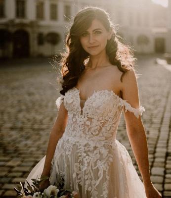 Robes de mariée simples en dentelle | Acheter des robes de mariée bohème en ligne_4