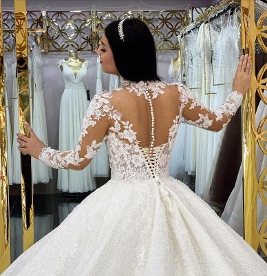 Robes de mariée élégantes A Line Lace   Robes de mariée à manches_4