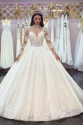 Robes de mariée élégantes A Line Lace   Robes de mariée à manches_1