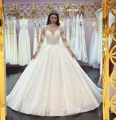 Robes de mariée élégantes A Line Lace   Robes de mariée à manches_2