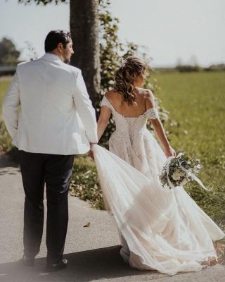 Robes de mariée Boho Une ligne | Robes de mariée avec dentelle_3