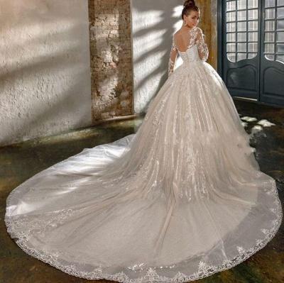 Robes de mariée élégantes à paillettes   Robes de mariée une ligne avec des manches_3