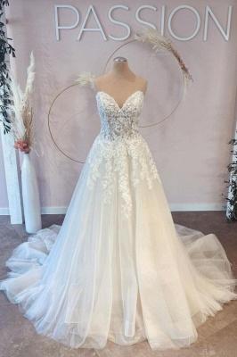 Belles robes de mariée Une ligne en dentelle | Robes De Mariée Pas Cher En Ligne_1