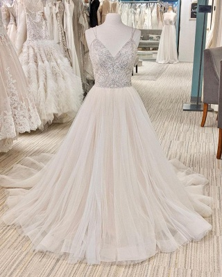 Belles robes de mariée Une ligne | Robes de mariée paillettes_2