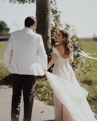 Robes de mariée Boho Une ligne | Robes de mariée avec dentelle_4