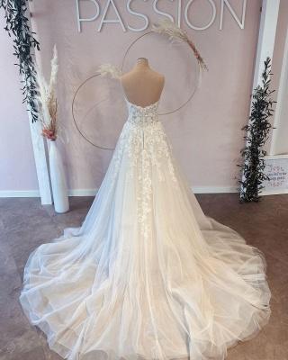 Belles robes de mariée Une ligne en dentelle | Robes De Mariée Pas Cher En Ligne_3
