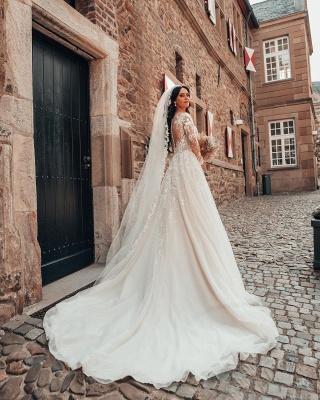 Robes de mariée élégantes à manches   Robes de mariée Une ligne en dentelle_2
