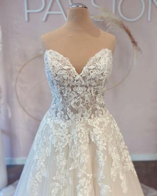 Belles robes de mariée Une ligne en dentelle | Robes De Mariée Pas Cher En Ligne_4