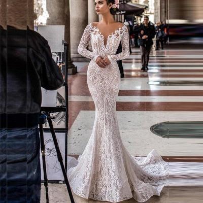 Robes de mariée de créateurs en dentelle de sirène | Robes de mariée à manches_2
