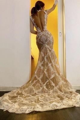 Nouvelles robes de mariée manches longues   Robes de mariée sirène dentelle_2