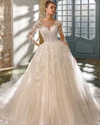 Robes de mariée élégantes à paillettes   Robes de mariée une ligne avec des manches_2