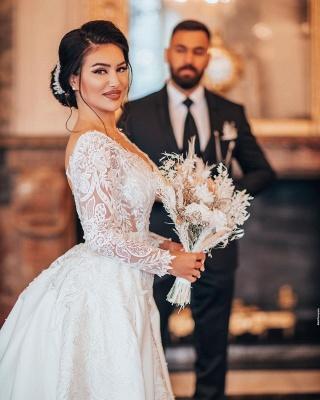 Robes de mariée de luxe Une ligne de dentelle   Robes de mariée à manches_4