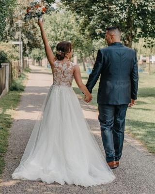 Robe de mariée simple A ligne | Robes de mariée avec dentelle_2