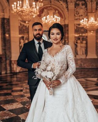 Robes de mariée de luxe Une ligne de dentelle   Robes de mariée à manches_3