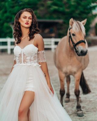 Robe de mariée simple avec dentelle | Robes de mariée Boho Une ligne_2