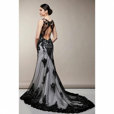 Robe de mariée sirène noire | Robes de mariée avec dentelle_2