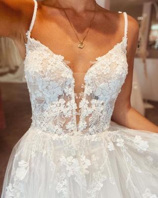 Robes de mariée simples Une ligne de dentelle   Robes de mariée bohème pas cher_5