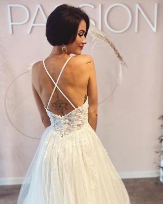 Robes de mariée simples Une ligne de dentelle   Robes de mariée bohème pas cher_3