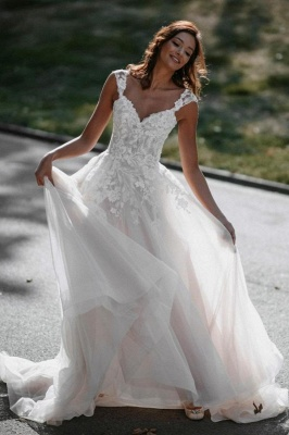 Robes de mariée Boho Une ligne de dentelle | Robes de mariée pas cher en ligne_1
