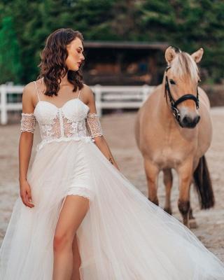 Robe de mariée simple avec dentelle | Robes de mariée Boho Une ligne_3