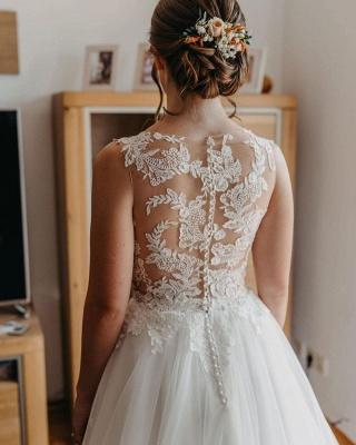 Robe de mariée simple A ligne | Robes de mariée avec dentelle_4