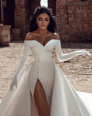 Robes de mariée en satin Une ligne | Robes De Mariée Pas Cher En Ligne_3