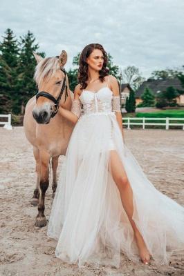 Robe de mariée simple avec dentelle | Robes de mariée Boho Une ligne_1