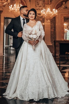 Robes de mariée de luxe Une ligne de dentelle   Robes de mariée à manches_1