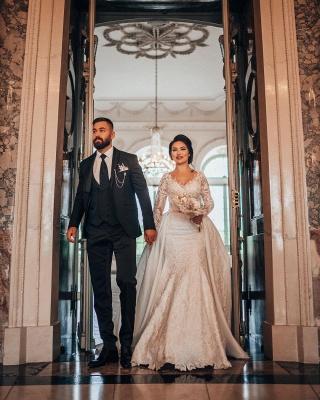 Robes de mariée de luxe Une ligne de dentelle   Robes de mariée à manches_8