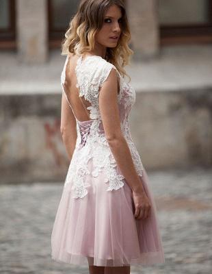 Robe de soirée princesse courte tulle chic | Robe de cocktail princesse avec dentelle_3