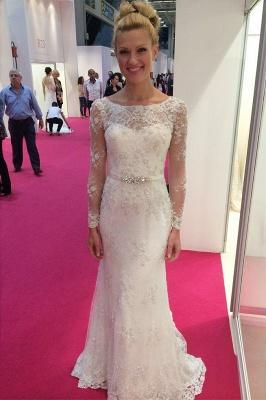 Robe de mariée sirène dentelle élégante | Robe de mariage trompette manches longues_1
