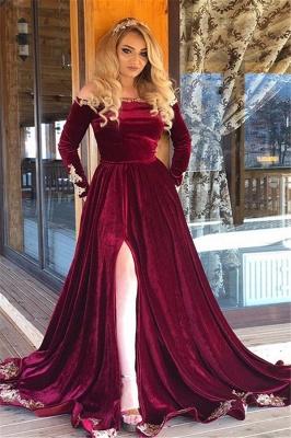 robe de soirée longue épaules nues en appliques avec fendu_2
