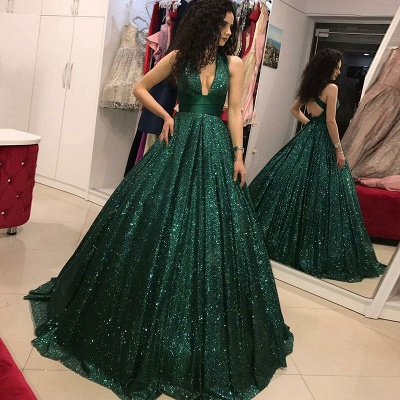 Robe de bal princesse pailletée brillante | Robe de soirée princesse col en V_3