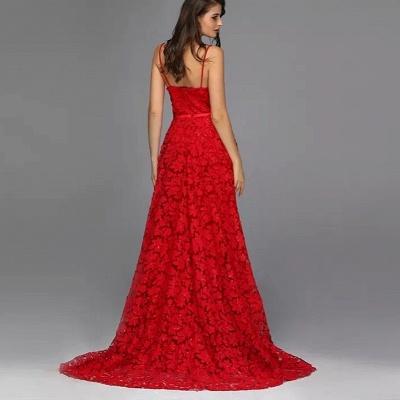 Robes de soirée élégantes longues rouges | Tenue de soirée avec dentelle_4