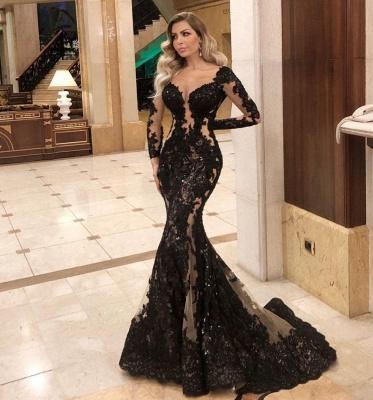 Robes de soirée noires à manches   Top tenues de soirée en ligne_2
